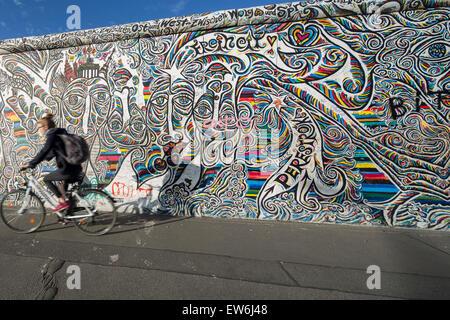 Berlin Wall, East Side Gallery, Berlin, Germany - Stock Photo
