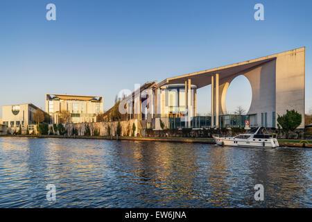 Bundeskanzleramt and River Spree, Berlin, Germany - Stock Photo