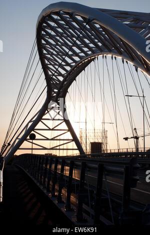 View of Settimia Spizzichino Bridge at sunset in Rome, Italy. - Stock Photo