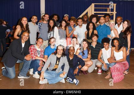 New York, NY, USA. 18th June, 2015. The cast of Hamilton in attendance for HAMILTON Begins Broadway Rehearsals, - Stock Photo