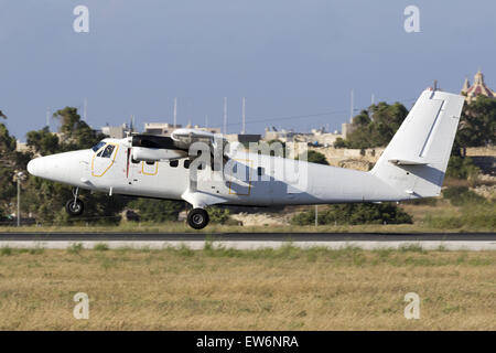 French Air Force DeHavilland Canada DHC-6 Twin Otter landing runway 31. - Stock Photo