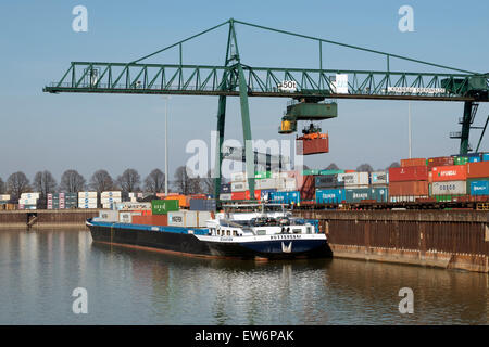 HGK container terminal, Niehl, Cologne, North Rhine-Westphalia, Germany. - Stock Photo