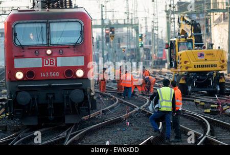 Railway track maintenance, Cologne, Germany. - Stock Photo