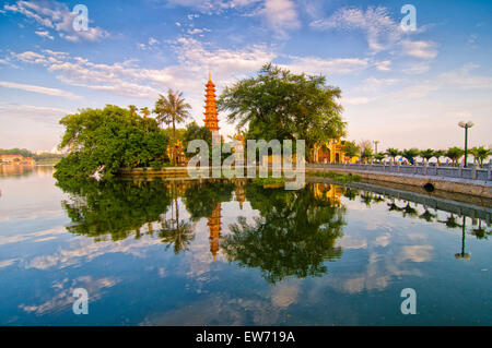 Tran Quoc pagoda in early morning in Hanoi, Vietnam - Stock Photo