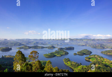 With 29 islands scattered across the water, Lake Bunyonyi is one of Uganda's top natural treasures. - Stock Photo