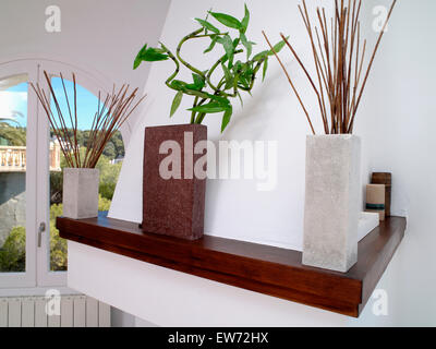 Tall Rectangular Vases With Foliage And Branches On Shelf In Modern