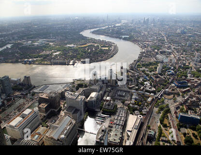 Aerial view looking west from Canary Wharf of The River Thames, London, UK - Stock Photo
