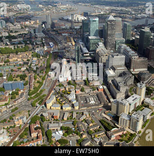 aerial view looking along the Docklands Light Railway at Westferry, Canary Wharf, East London, UK - Stock Photo