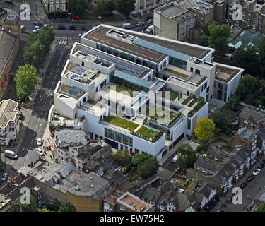 aerial view of University of Greenwich, Stockwell Street Library, Greenwich, London, UK - Stock Photo