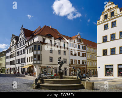 market square with fountain, Torgau, Saxony, Germany - Stock Photo