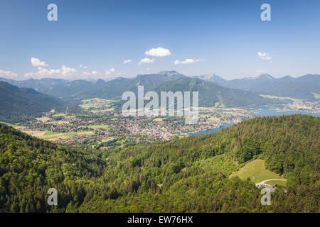 View to the Tegernsee, the village Rottach Egern and the Weissach valley, Bavaria, Germany - Stock Photo