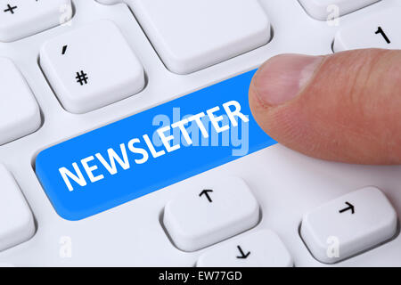Subscribing newsletter on internet for business information marketing campaign - Stock Photo