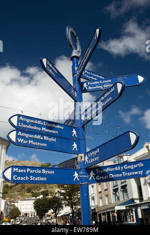 UK, Wales, Conwy, Llandudno, tourist information signpost at Mostyn Street and Gloddaeth Street junction - Stock Photo