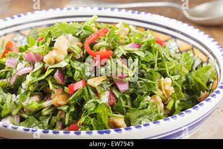 Moroccan Salad with parsley, chilis, red onion, tomato, walnuts and pomegranate syrup - Stock Photo