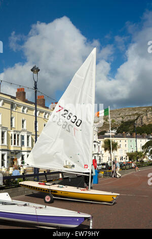 UK, Wales, Conwy, Llandudno, promenade, Laser class one person sailing boats being prepared - Stock Photo