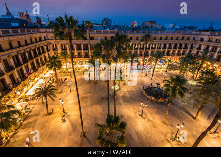 Night top view over Placa Reial or Plaza Real, Barcelona, Catalonia, Spain - Stock Photo