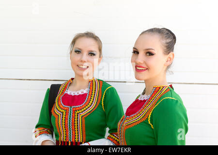 Two young Russian girls in traditional Bashkir National Dress for a celebration of Russian Day in Ufa Bashkortostan - Stock Photo