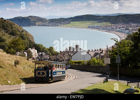 UK, Wales, Conwy, Llandudno, Ty Gwyn Road, Great Orme Tramway, tram climbing steep hill above coastline - Stock Photo