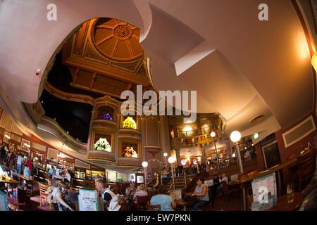 UK, Wales, Conwy, Llandudno, Gloddaeth Street, Wetherspoon's Palladium pub in former cinema, interior - Stock Photo