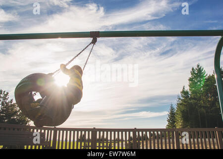 Boys sitting on a tire swing - Stock Photo