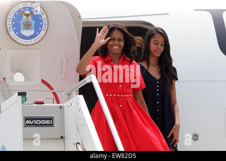 ITALY, Venice: First Lady Michelle Obama with her daughter Malia come out from the plane during arrival at Marco - Stock Photo
