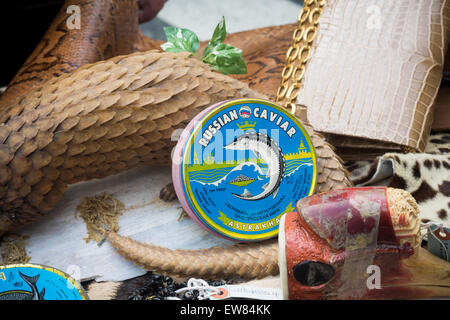 New York, USA. 19th June, 2015. Illegal Russian Caviar and other products from endangered species in Times Square - Stock Photo
