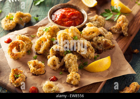 Homemade Breaded Fried Calamari with Marinara Sauce - Stock Photo