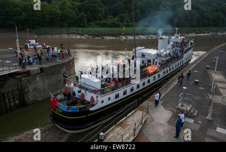 Cumberland Basin, Bristol, UK. 19th June 2015. The MV Balmoral has been out of action for 3 years, undergoing restoration - Stock Photo