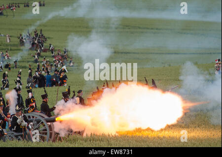 Lions Mound, Waterloo, Belgium. 19th June, 2015. First Reenactment: The French Attack. The French charge. La Haye - Stock Photo