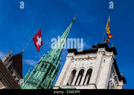 Three towers of the Cathedral Saint-Pierre in the old town of Geneva, Switzerland - Stock Photo