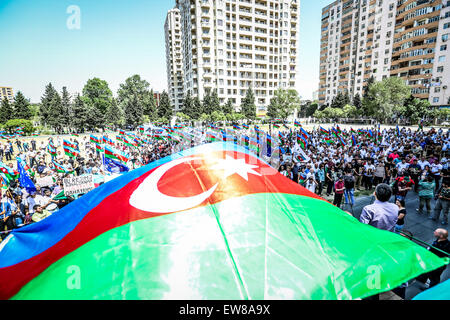 Azerbaijan. 30th May, 2015. The oppositions rally at the stadium Mehsul demanding the punishment of the officials - Stock Photo