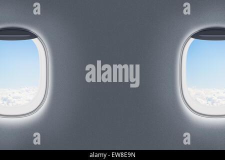 airplane or jet windows interior - Stock Photo