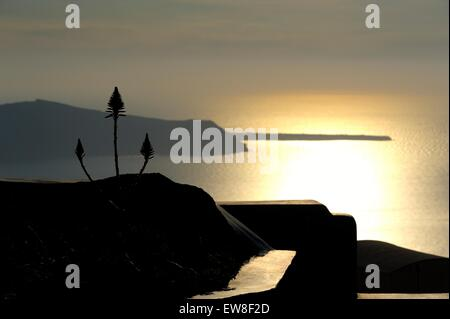 A view of the sun setting over the caldera,Imerovigli,Santorini,Greece - Stock Photo
