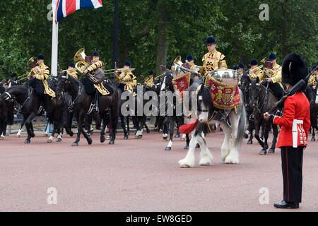 Mounted band of the Household Cavalry at Trooping the Colour. Mercury the Drum Horse of the Life Guards and Blues - Stock Photo
