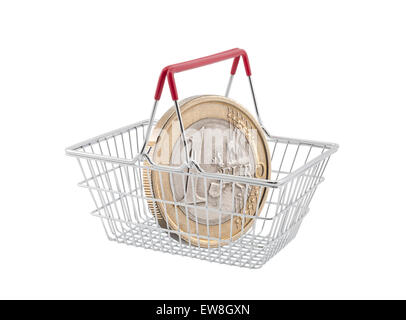 Shopping basket with one euro coin on white background - Stock Photo