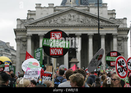 London, UK. 20th June, 2015. Thousands attend anti-austerity demonstration in Central London Credit:  Finn Nocher/Alamy - Stock Photo