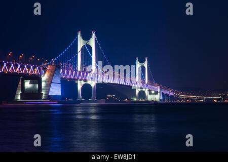 The Gwangan Bridge or Diamond Bridge at night, Busan, South Korea. - Stock Photo
