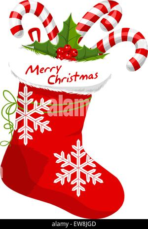 Christmas Stocking Stuffed with Candy Canes, vector illustration - Stock Photo