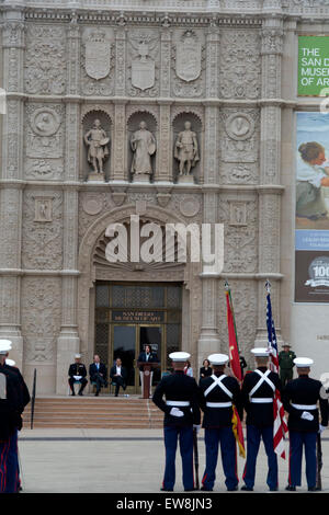 Marines parading through Balboa Park, San Diego, an the 100th anniversary of the parks opening. - Stock Photo