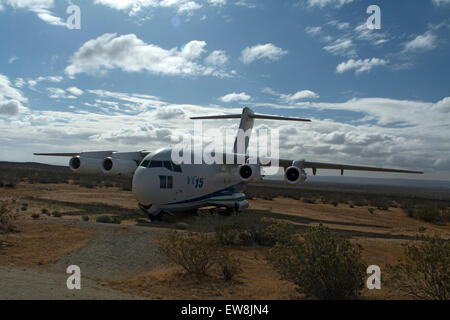 The YC15 prototype, one of the aircraft on display at the Century Circle outside Edwards AFB in California. - Stock Photo