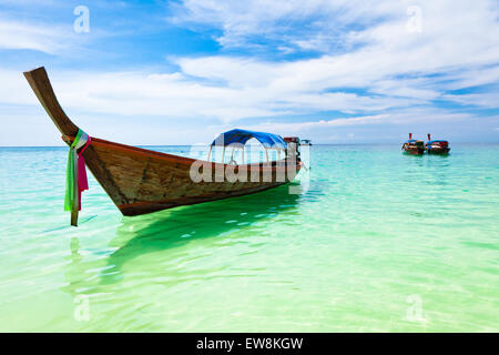 Traditional thai boats on the beach, Koh Lipe, Thailand. - Stock Photo