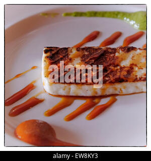 Flan dessert served with Palm Honey in Meson del Norte in Parque Rural de Teno in the northern part of  the Canary - Stock Photo