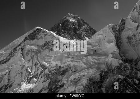 Summit of Mount Everest 8848M, Everest base camp trek, Sagarmatha National Park, UNESCO World Heritage Site, Solu - Stock Photo