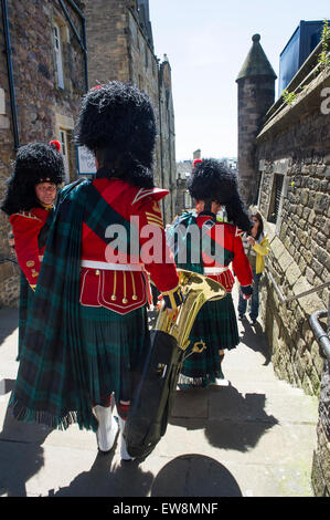 The Scots Guards marching in Edinburgh Castle - Stock Photo