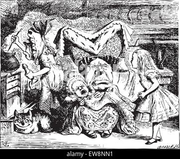 Alice in Wonderland.Cook, Duchess, Cheshire Cat, Baby, and Alice. Duchess is sitting on a three-legged stool in - Stock Photo