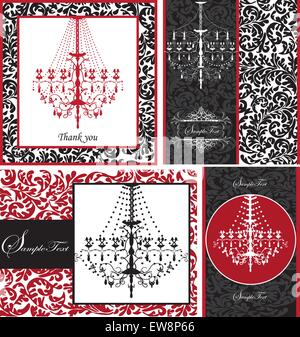 Set of four (4) vintage invitation cards with ornate elegant retro abstract floral design, white red or black flowers - Stock Photo