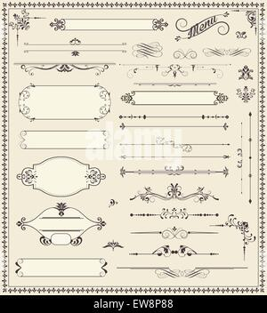 Various vintage label and border elements with ornate elegant retro abstract floral design, dark gray flowers and - Stock Photo