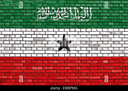 flag of Somaliland painted on brick wall - Stock Photo