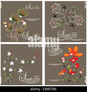 Set of four (4) vintage invitation cards with elegant retro abstract floral designs, on gray. Vector illustration. - Stock Photo