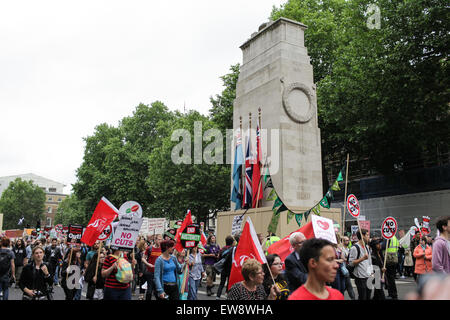 London, UK. 20th June, 2015. Protestors march past the Cenotaph on Whitehall as tens of thousands march through - Stock Photo